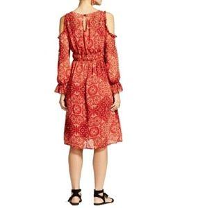 Dresses & Skirts - NEW Ruffle Cold Shoulder Midi Dress Medium Red